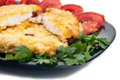 Chicken schnitzel closeup Royalty Free Stock Photo