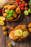 Chicken schnitzel with croquettes Royalty Free Stock Images