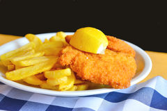 Chicken Schnitzel with fries. Quick meal on Zugspitze ,Chicken Schnitzel with fries Royalty Free Stock Images