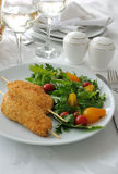 Chicken schnitzel garnish Stock Photography