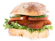 Chicken Schnitzel On A Roll (on White) Royalty Free Stock Photography