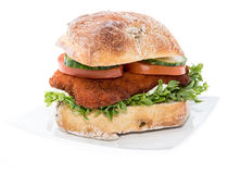 Chicken Schnitzel on a roll (on white) Stock Photography