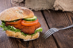 Chicken Schnitzel on a roll Stock Photo