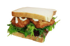 Chicken schnitzel sandwich with salad and mayo Stock Image