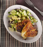 Chicken Schnitzel With Vegetables Stock Image