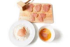 Chicken schnitzels Stock Images