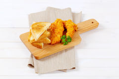 Chicken schnitzels with toasts Royalty Free Stock Photo