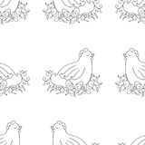 Chicken seamless pattern background. Monochrome wallpaper with hen vector. Royalty Free Stock Image