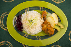 Chicken served with white rice potato on a plate Royalty Free Stock Images