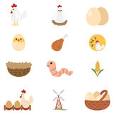 Chicken set icon Stock Images
