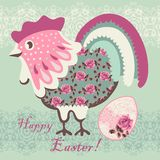 Chicken shabby chic, flowers, roses. Easter Holiday pattern. Chinese zodiac 2017 year cock. Stock Photos