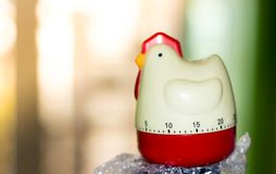 Chicken shape of Timer with the left of sun light Stock Photos