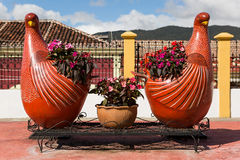 Chicken shaped flower pots Stock Image