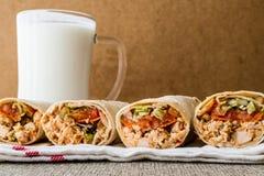 Chicken shawarma doner kebab with ayran or buttermilk. Royalty Free Stock Photo