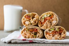 Chicken shawarma doner kebab with ayran or buttermilk. Stock Image
