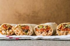 Chicken shawarma durum doner kebab copy space. Royalty Free Stock Image