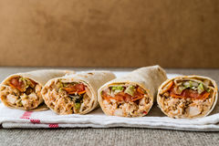 Chicken shawarma durum doner kebab copy space. Royalty Free Stock Images