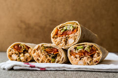 Chicken shawarma durum doner kebab copy space. royalty free stock photos