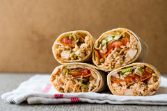 Chicken shawarma durum doner kebab copy space. Fast food concept stock photo