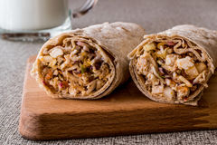 Chicken shawarma durum kebab with ayran or buttermilk / Tantuni royalty free stock photography