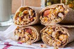 Chicken shawarma durum kebab with ayran or buttermilk / Tantuni royalty free stock image