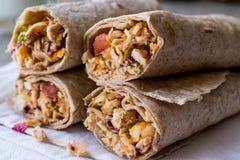 Chicken shawarma durum kebab with ayran or buttermilk / Tantuni. Fast food Stock Image