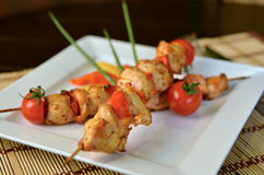 Chicken shish kebab. With cherry tomatoes Royalty Free Stock Image