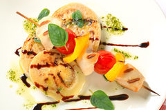 Chicken shish kebab with aubergine Stock Photography