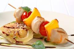 Chicken shish kebab with aubergine Stock Photos