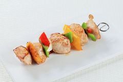 Chicken Shish kebab. On a cutting board Royalty Free Stock Images