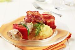 Chicken shish kebab and mashed potato Stock Photography