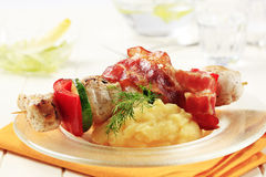 Chicken shish kebab and mashed potato Stock Images