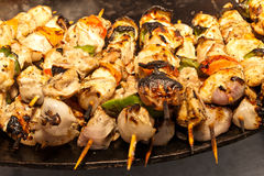 Chicken shish kebab with onion and pepper Stock Images