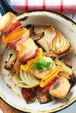 Chicken shish kebab with pan roasted onion Royalty Free Stock Photos