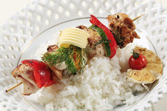 Chicken shish kebab and rice Stock Image