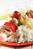 Chicken shish kebab and rice Royalty Free Stock Image