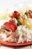 Chicken shish kebab and rice Royalty Free Stock Image
