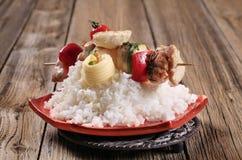 Chicken shish kebab and rice Stock Photos