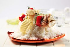 Chicken shish kebab and rice Royalty Free Stock Photo