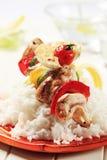 Chicken shish kebab and rice Stock Photo