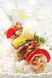 Chicken shish kebab and rice Stock Photo
