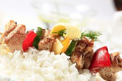 Chicken shish kebab with rice Stock Photos