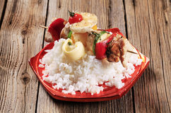 Chicken shish kebab and rice Royalty Free Stock Photos