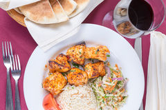 Chicken shish kebab with rice pilaf Royalty Free Stock Image