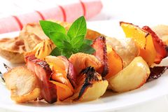 Chicken shish kebab. With roasted potatoes Stock Images