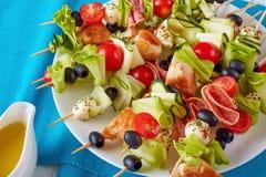 Chicken shish kebab skewers with veggies stock photography