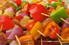 Chicken shish kebab with vegetables. Fresh chicken shish kebab with vegetables ready for grilling Stock Photo