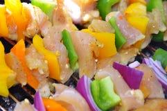 Chicken shish kebab with vegetables. Chicken shish kebab and veggies Royalty Free Stock Photos