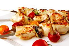 Chicken shish kebab with vegetables Royalty Free Stock Image
