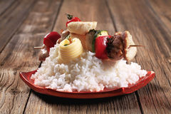 Chicken shish kebab with white rice Stock Images